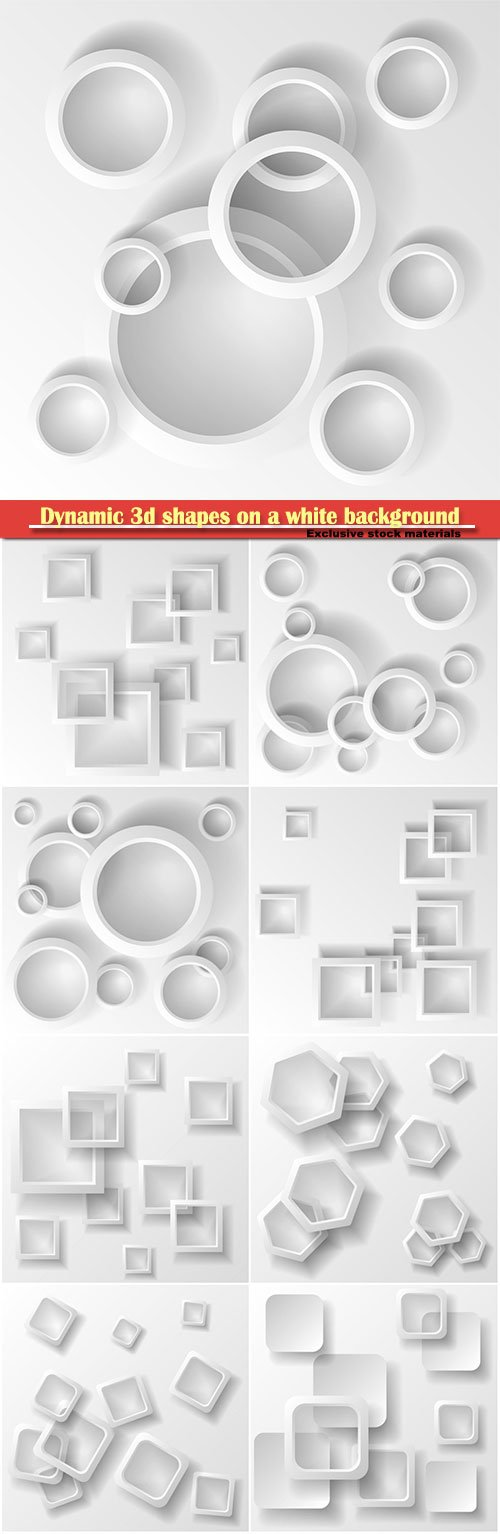 Dynamic 3d shapes on a white background, design for abstract geometric background