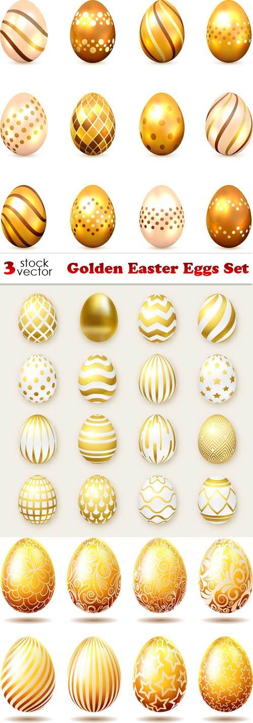 Vectors - Golden Easter Eggs Set