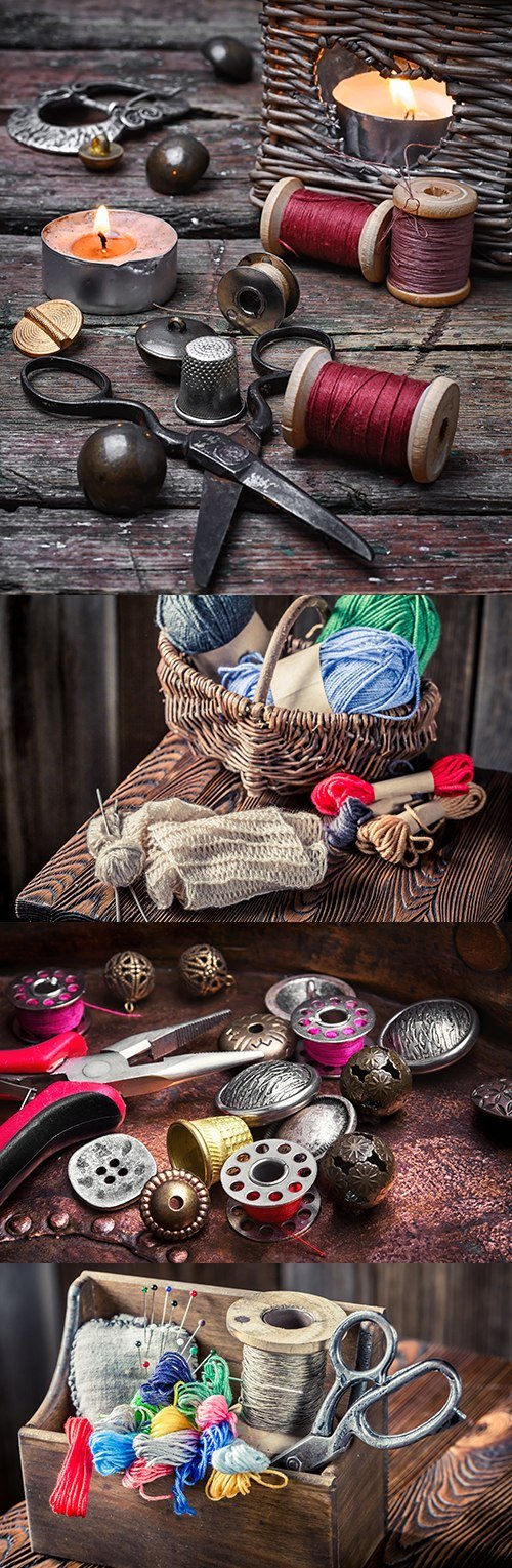 Color threads and buttons for needlework and sewing