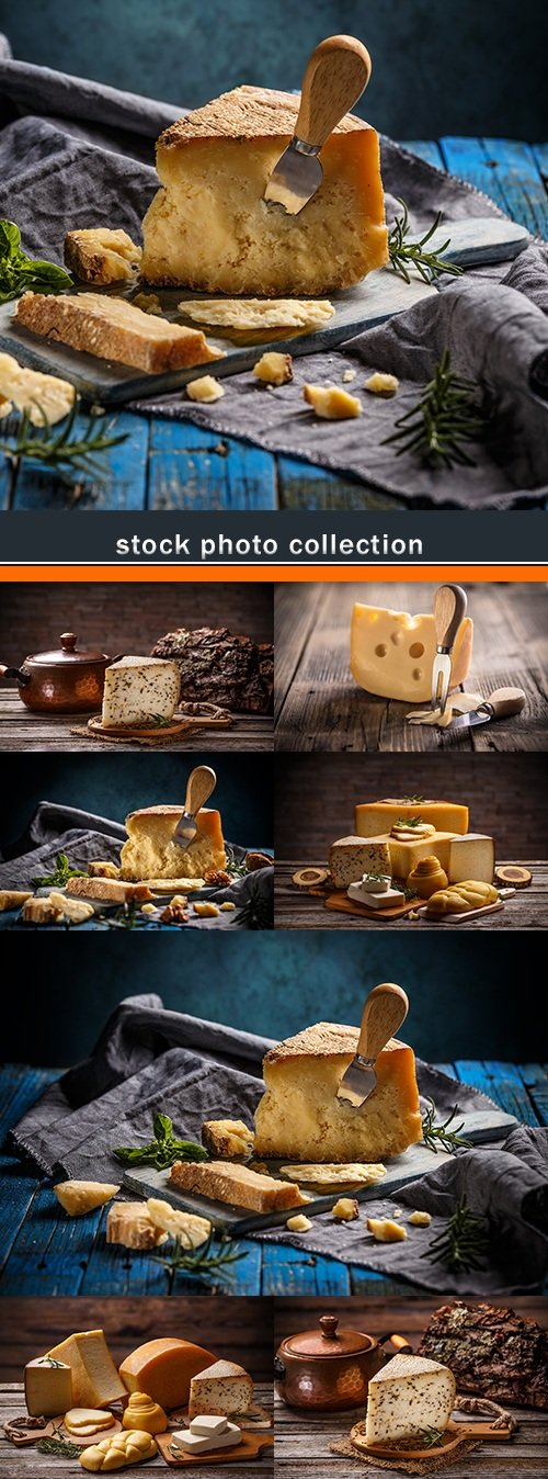 Parmesan and cheeses with spices on wooden table