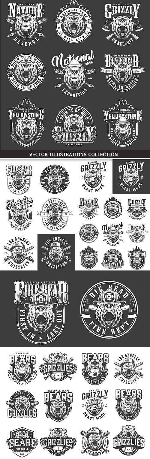 Bear Yellowstone grizzly monochrome logotype vintage