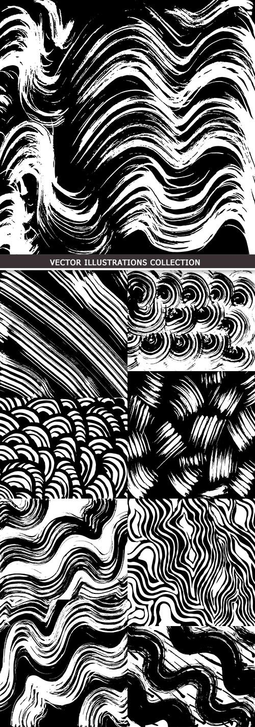 Grunge pattern abstract black white stains of brush