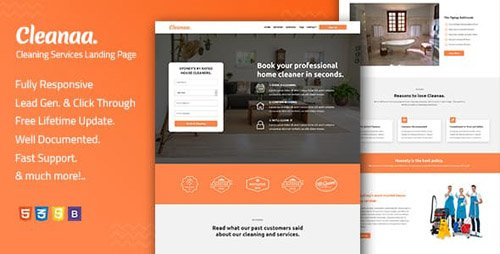 ThemeForest - Cleanaa v1.0 - Cleaning Services Landing Page Template - 22954629