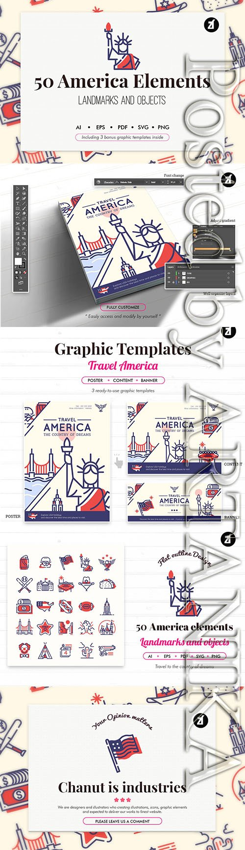 50 USA elements with bonus graphic templates