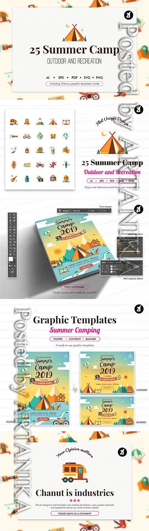 25 Summer Camp icons with bonus graphic templates