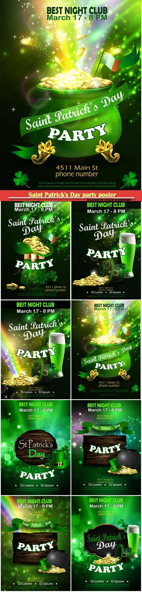 Saint Patrick's Day party poster invitation vector