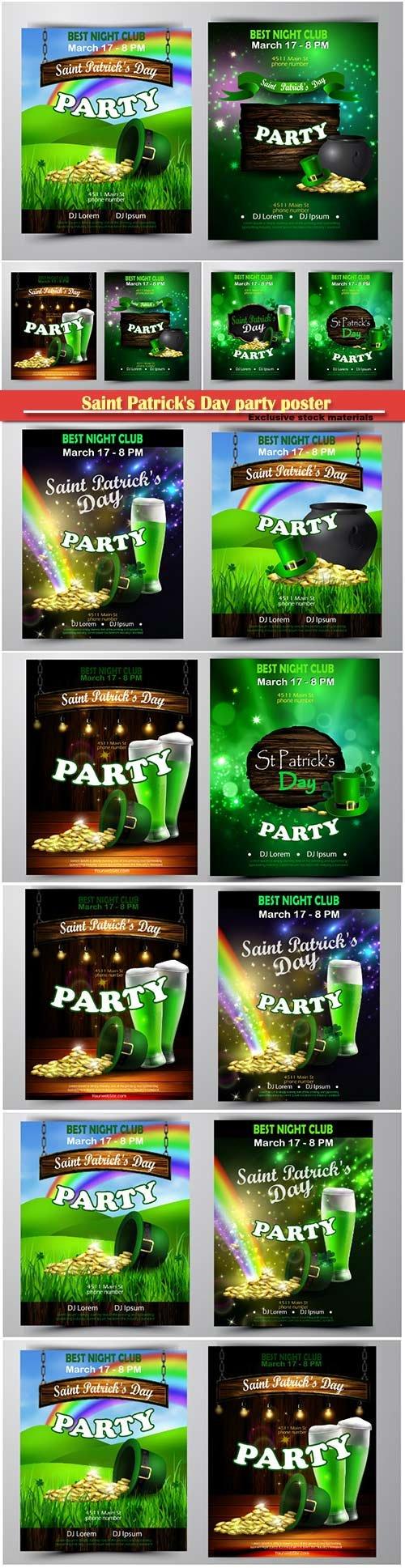 Irish holiday Saint Patrick s Day party poster