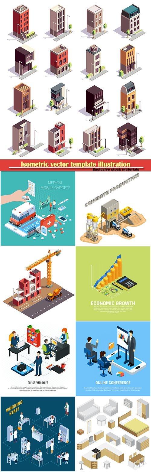 Isometric vector template illustration # 48