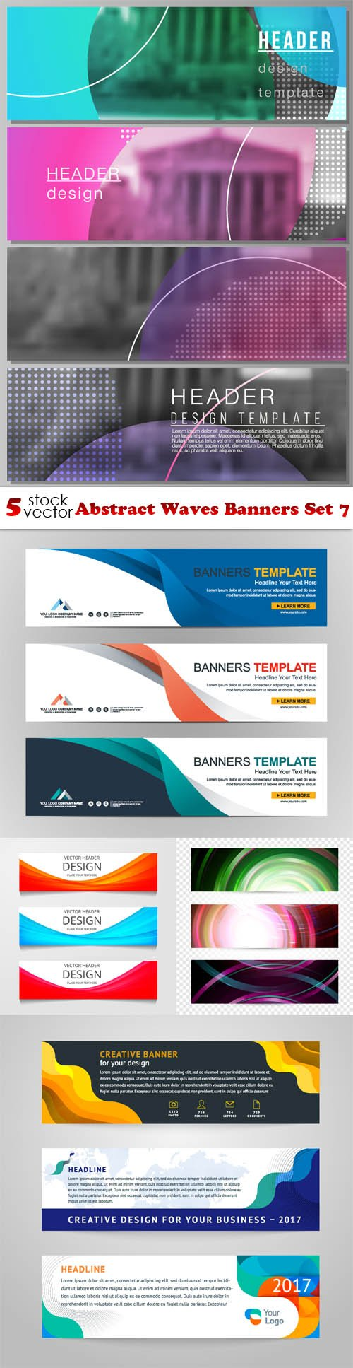 Vectors - Abstract Waves Banners Set 7