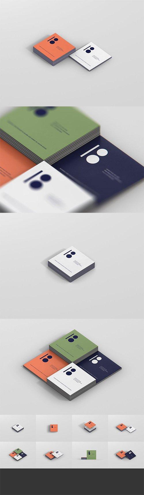 Business Card Mockup Stack Square Format