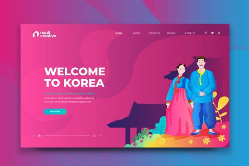 Welcome To Korea Web PSD and AI Vector Template