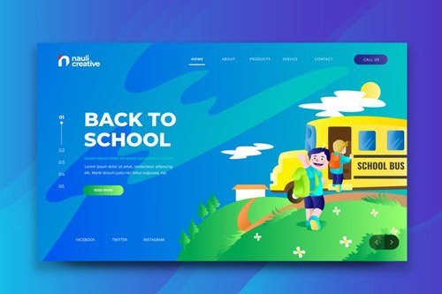 Back To School Web PSD and AI Vector Template