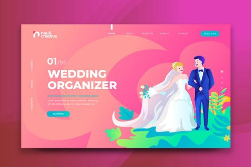 Wedding Organizer Web PSD and AI Vector Template