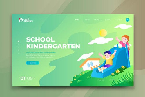 School Kindergarten Web PSD and AI Vector Template