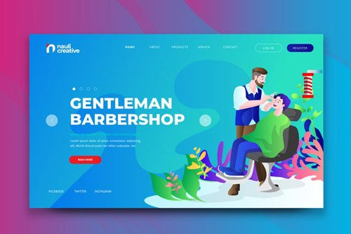 Gentleman Barbershop Web PSD and AI Vector Templat