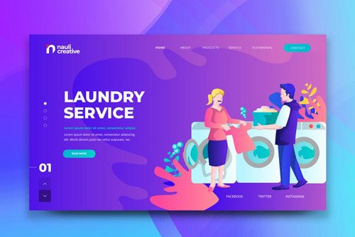 Laundry Service Web PSD and AI Vector Template
