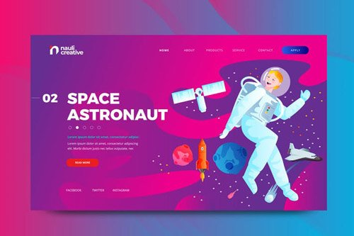 Space Astronaut Web PSD and AI Vector Template