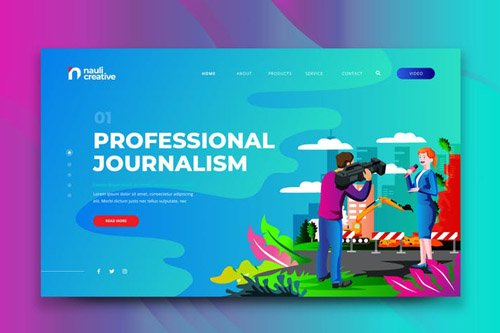 Professional Journalism Web PSD and AI Template