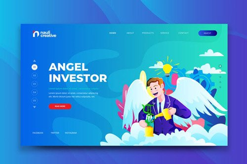 Angel Investor Web PSD and AI Vector Template