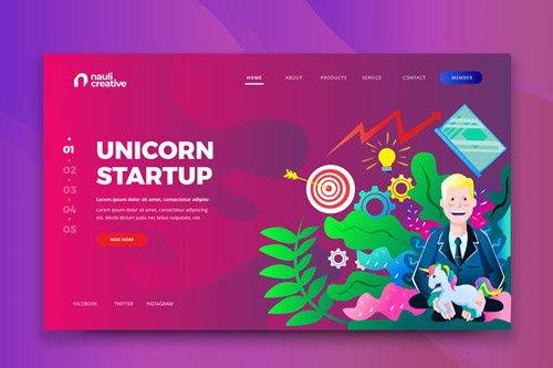 Unicorn Startup Web PSD and AI Vector Template