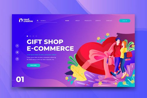 Gift Shop E-Commerce Web PSD and AI Template