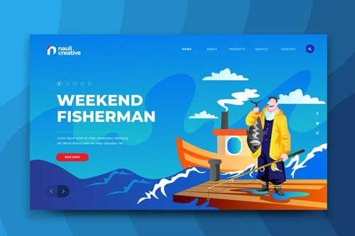Weekend Fisherman Web PSD and AI Vector Template
