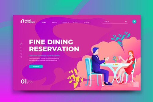 Dinner Reservation Web PSD and AI Vector Template