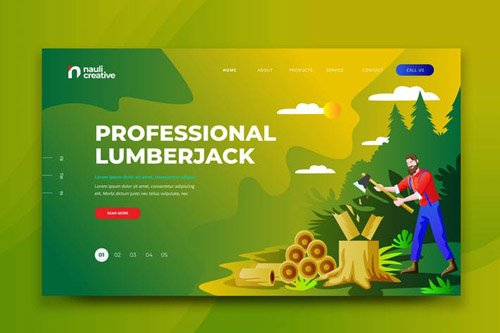 Professional Lumberjack Web PSD and AI Template