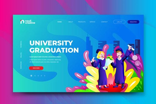 University Graduation Web PSD and AI Template
