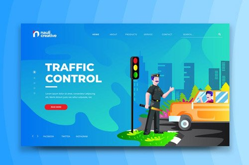 Traffic Control Web PSD and AI Vector Template