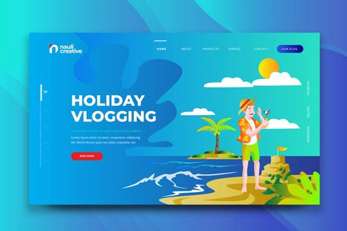 Holiday Vlogging Web PSD and AI Vector Template