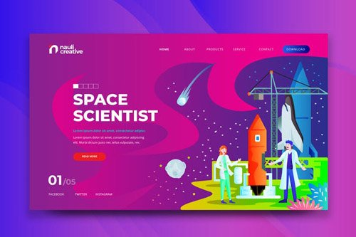 Space Scientist Web PSD and AI Vector Template