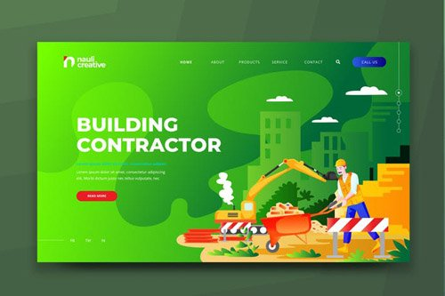 Building Contractor Web PSD and AI Vector Template