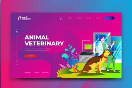 Animal Veterinary Web PSD and AI Vector Template