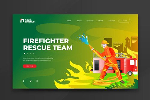 Firefighter Rescue Team Web PSD and AI Template