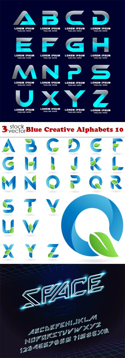 Vectors - Blue Creative Alphabets 11
