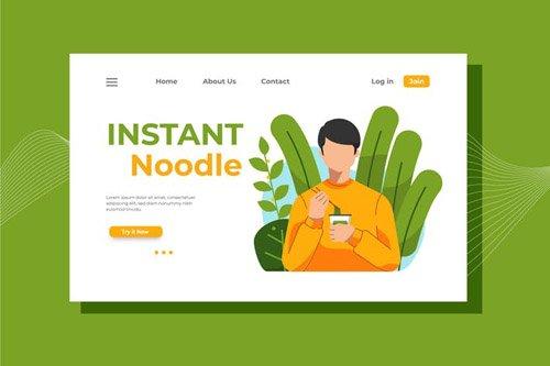 Instant Noodle Landing Page Illustration
