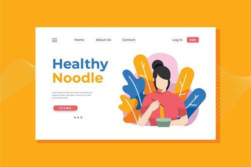 Healthy Noodle Landing Page Illustration