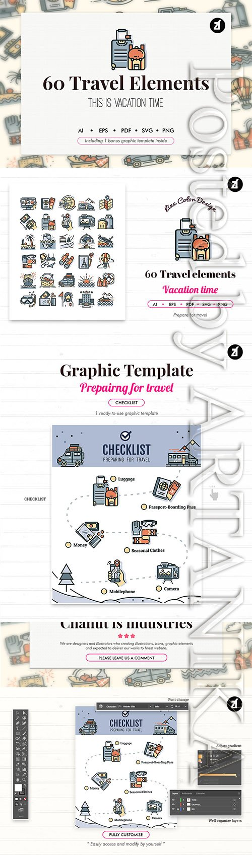 60 Travel elements with bonus graphic template