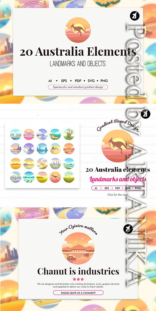 20 Australia elements in Gradient design