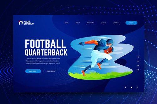 American Football Web PSD and AI Vector Template