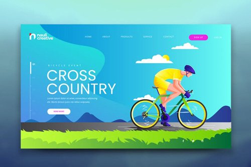 Cyclist Adventure Web PSD and AI Vector Template