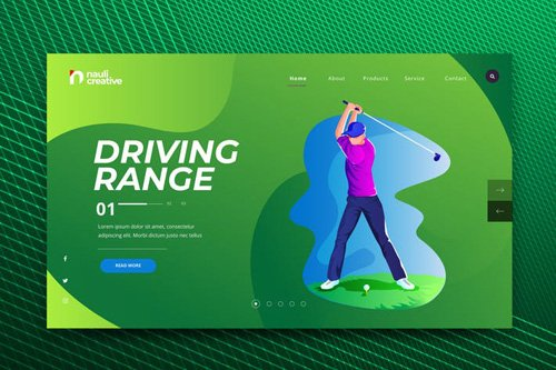 Golf Sports Web PSD and AI Vector Template
