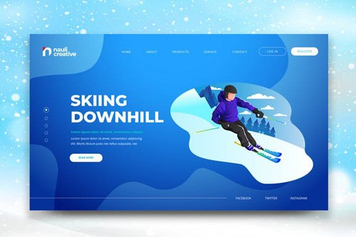 Skiing Downhill Web PSD and AI Vector Template
