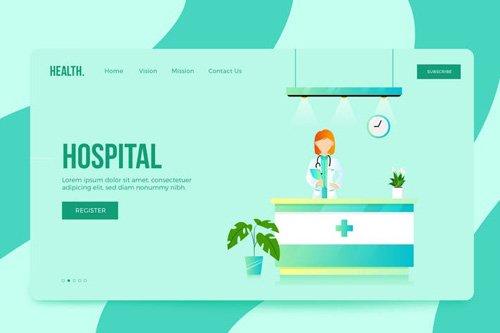Hospital Vector Landing Illustration