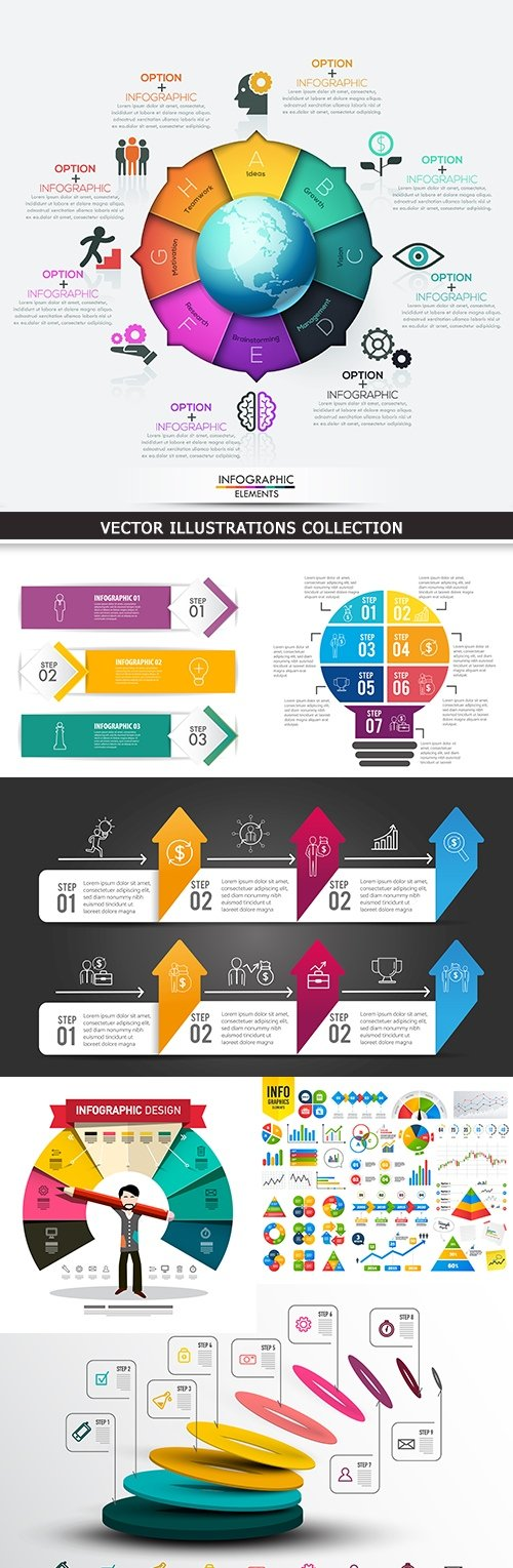 Business infographics options elements collection 42