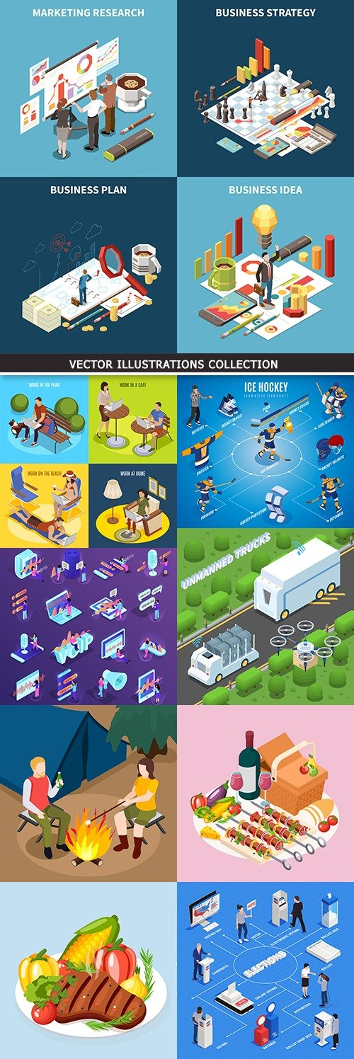 Business isometric icon marketing vector illustration