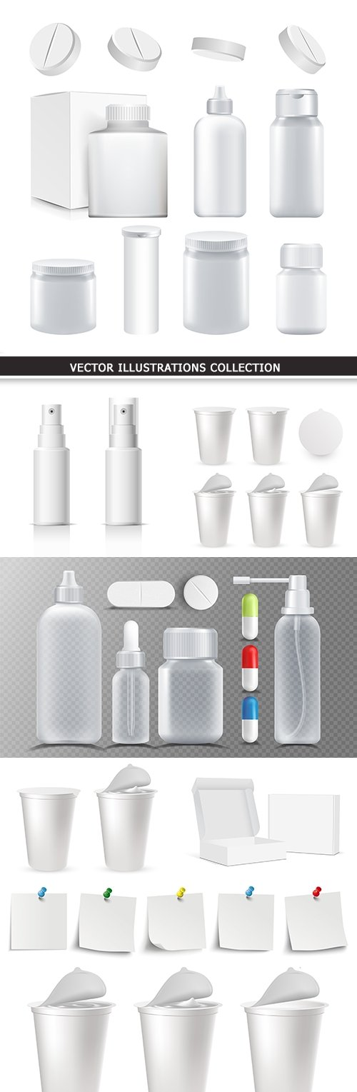 Cardboard box and plastic bottle container realistic illustrations