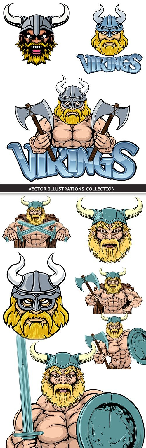 Medieval Viking with weapon cartoon an illustration