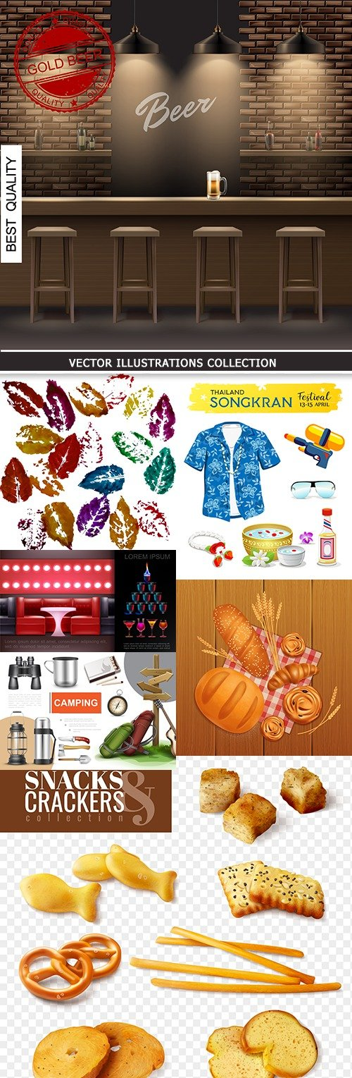 Modern vector illustrations collection different subjects 29